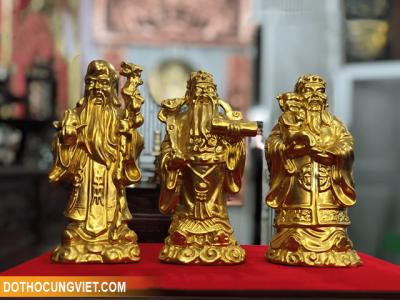 Bộ tượng Tam đa Phúc Lộc Thọ bằng đồng vàng đẹp tinh xảo