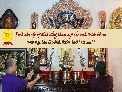 Cách sắp xếp ban thờ gia tiên đầy đủ với bộ ngũ sự khảm ngũ sắc cao cấp