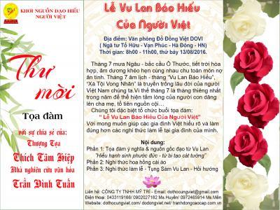 Thư mời tọa đàm : Lễ Vu Lan báo hiếu của người Việt