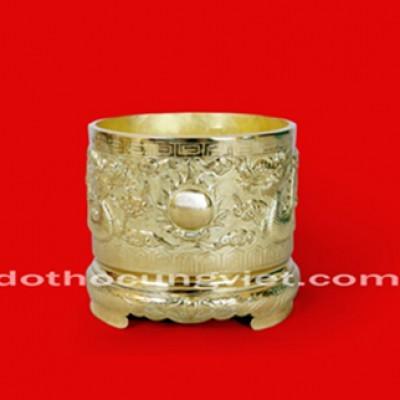 Bát hương đồng vàng đường kính 19cm