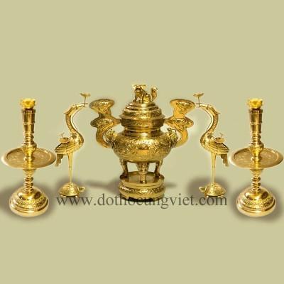 Bộ ngũ sự đồng vàng cao 55cm