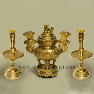Bộ tam sự nến đồng vàng