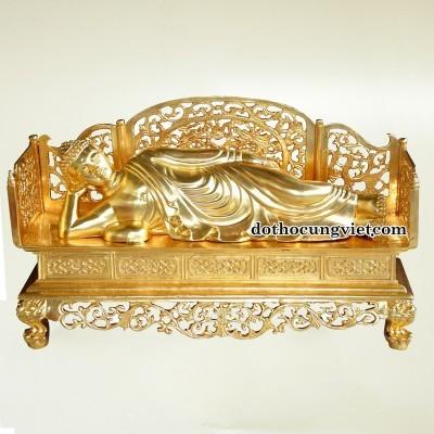 Tượng Phật nhập Niết Bàn dát vàng 24K